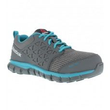 Reebok RB045 - Women's - Alloy Toe - Athletic Work Shoe - Grey and Turqouise