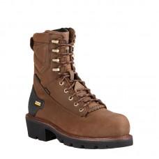 """Ariat 10018563 - Men's - 8"""" Powerline Waterproof Soft Toe - Oily Distressed Brown"""