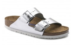 Birkenstock 1005960 - Women's - Arizona Soft Footbed Leather Regular Width - Metallic Silver