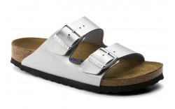 Birkenstock 550153 - Women's - Arizona Soft Footbed Birko Flor Narrow Width - Silver