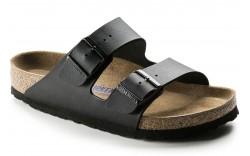 Birkenstock 55123 - Women's - Arizona Soft Footbed Birko Flor Narrow Width - Black