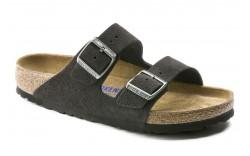 Birkenstock 552321 - Women's - Arizona Soft Footbed Suede Leather Regular Width - Velvet Gray