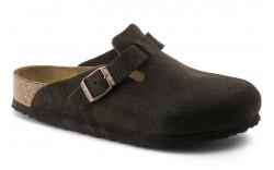 Birkenstock 660461 - Men's - Boston Soft Footbed Suede Leather Regular Width - Mocha