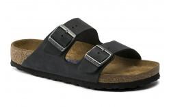 Birkenstock 752483 - Women's - Arizona Soft Footbed Oiled Nubuck Narrow Width - Black