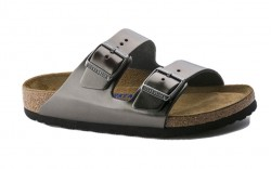Birkenstock 1000292 - Women's - Arizona Soft Footbed - Leather Metallic Anthracite (Regular Width)