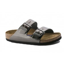 Birkenstock 1000295 - Women's - Arizona Soft Footbed - Leather Metallic Anthracite (Narrow Width)
