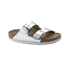 Birkenstock 1005960 - Women's - Arizona Soft Footbed - Leather Metallic Silver (Regular Width)