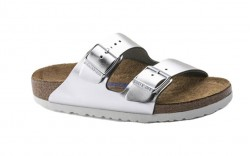 Birkenstock 1005961 - Women's - Arizona Soft Footbed - Leather Metallic Silver (Narrow Width)