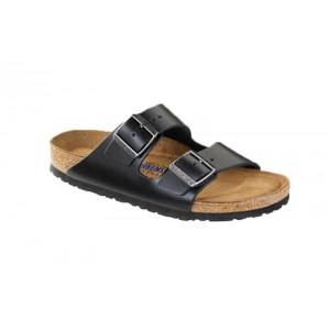 Birkenstock 552331M - Men's - Arizona Smooth Leather, Soft Footbed - Amalfi Black (Regular Width)