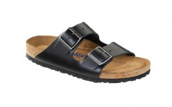 Birkenstock 552331W - Women's - Arizona Smooth Leather, Soft Footbed - Amalfi Black (Regular Width)