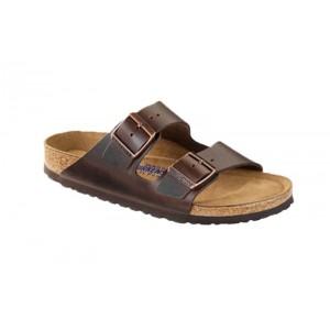 Birkenstock 552341M - Men's - Arizona Smooth Leather, Soft Footbed - Brown (Regular Width)