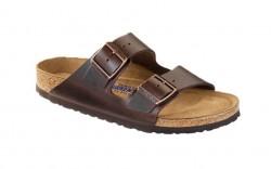 Birkenstock 552341W - Women's - Arizona Smooth Leather, Soft Footbed - Brown (Regular Width)