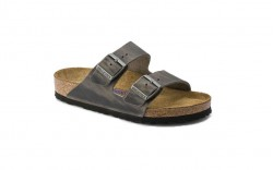 Birkenstock 552801M - Men's - Arizona Oiled Nubuck, Soft Footbed - Iron (Regular Width)