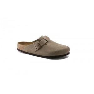 Birkenstock 560771M - Men's - Boston Suede Leather, Soft Footbed - Taupe (Regular Width)