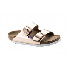 Birkenstock 952091 - Women's - Arizona Soft Footbed - Leather Metallic Copper (Regular Width)