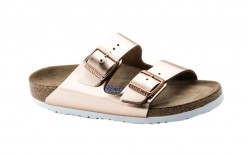 Birkenstock 952093 - Women's - Arizona Soft Footbed - Leather Metallic Copper (Narrow Width)