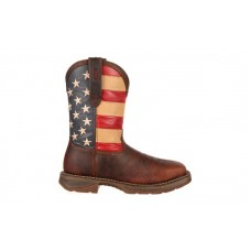 "Durango DB020 - Men's - Rebel - 11"" Square Steel Toe - Dark Brown/Union Flag"