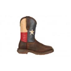 """Durango - Men's - DB021 Rebel 11"""" Steel Toe Western - Dark Brown/Texas Flag"""