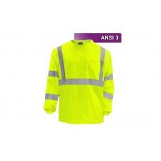 Reflective Hi Visibility Clothing - VEA-204 - Long Sleeve Pocketed Shirt - Lime