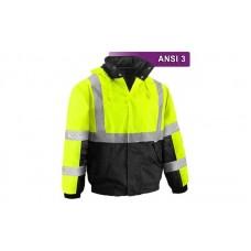 Reflective Hi Visibility Clothing - VEA-411 - Two-Tone Bomber Jacket - Lime/Black