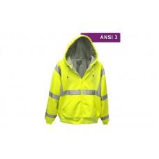 Reflective Hi Visibility Clothing - VEA-603 - Zippered Microfiber Hoodie - Lime