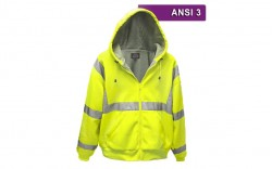 Reflective Hi Visibility Clothing - VEA-603 - Zippered Microfiber Hoodie - Lime