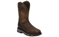 "Justin WK2112 - Men's - 11"" Mahogany Waterproof Steel Square Toe Wellington"