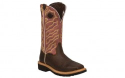 "Justin WK4565 - Men's - 13"" Dark Chestnut Steel Sqaure Toe Wellington"