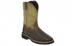 "Justin WK4570 - Men's - 11"" Dark Waxy Brown Waterproof Steel Square Toe Wellington"