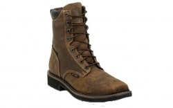 "Justin WK462 - Men's - 8"" Rustic Barnwood Lace Up Waterproof Composite Toe Work Boot"