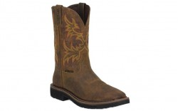 "Justin WK4682 - Men's - 11"" Rugged Tan Steel Square Toe Wellington"