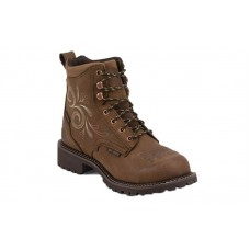 """Justin GY985 - Women's - 6"""" Aged Bark Lace Up Waterproof Steel Round Toe Work Boot"""