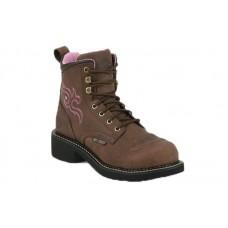 """Justin GY991 - Women's - 6"""" Aged Bark Lace Up Steel Round Toe Work Boot"""