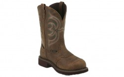 "Justin WKL9984 - Women's - 11"" Brown Waterproof Steel Round Toe Wellington"