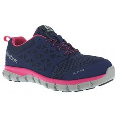 Reebok RB046 - Women's - Alloy Toe - Athletic Work Shoe - Navy and Pink