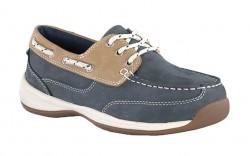 Rockport RK670 - Women's - Sailing Club 3 Eye Tie Boat Steel Toe Shoe - Navy Blue & Tan