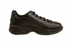 Skechers 76033b - Women's - Soft Stride Softie SR Lace Up - Black Smooth Leather