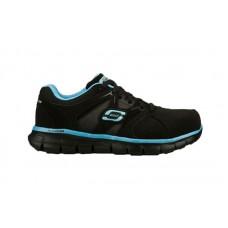 Skechers 76553bkbl - Women's - Synergy Sandlot SR Alloy Toe Lace Up Athletic - Black Nubuck/Lt. Blue Trim