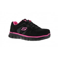 Skechers 76553bkpk - Women's - Synergy Sandlot SR Alloy Toe Lace Up Athletic - Black Nubuck/Pink Trim