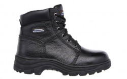Skechers 76561blk - Women's - Workshire Peril 6 Inch Padded Collar Steel Toe Boot - Black Embossed Leather