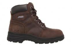 Skechers 76561cdb - Women's - Workshire Peril 6 Inch Padded Collar Steel Toe Boot - Dark Brown Buffalo Crazyhorse Leather