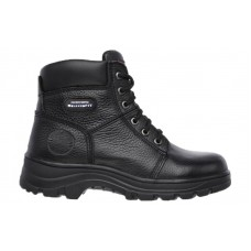 Skechers 76565blk - Women's - Workshire - Fitton Relaxed Fit 6 Inch Padded Collar Plain Toe Boot - Black Embossed Leather