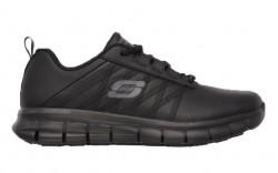 Skechers 76576blk - Women's - Sure Track - Erath Slip Resistant Athletic - Black Leather