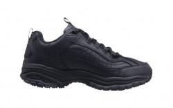 Skechers 76759blk - Men's - Soft Stride Galley Lace Up SR Athletic- Black Smooth Leather/Midsole