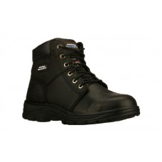 Skechers 77009blk - Men's - Workshire Relaxed 6 Inch Padded Collar Steel Toe Boot - Black Embossed Leather