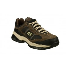 Skechers 77013brbk - Men's - Soft Stride Grinnel Lace Up Athletic Composite Toe - Brown Oily Suede/Black Mesh