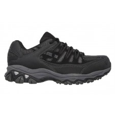 Skechers 77055bkcc - Men's - Cankton Athletic Steel Safety Toe - Black Embossed Suede/Mesh/Action Nubuck with Charcoal