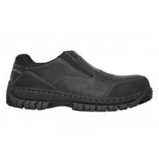 Skechers 77066blk - Men's - Hartan Double Gore Slip On Steel Toe - Black Buffalo Crazyhorse Leather