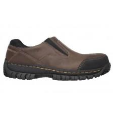 Skechers 77066dkbr - Men's - Hartan Double Gore Slip On Steel Toe - Dark Brown Buffalo Crazyhorse Leather