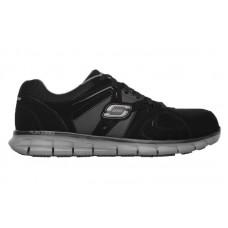 Skechers 77068bkcc - Men's - Syngergy - Ekron Lace Up Slip Resistant Athletic Alloy Toe - Black Trubuck with Charcoal Trim